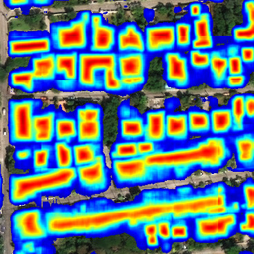 Satellite image with heatmap highlighting houses