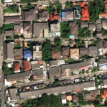 Satellite image showing houses